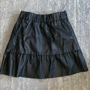 Club Monaco pleather skirt with ruffle